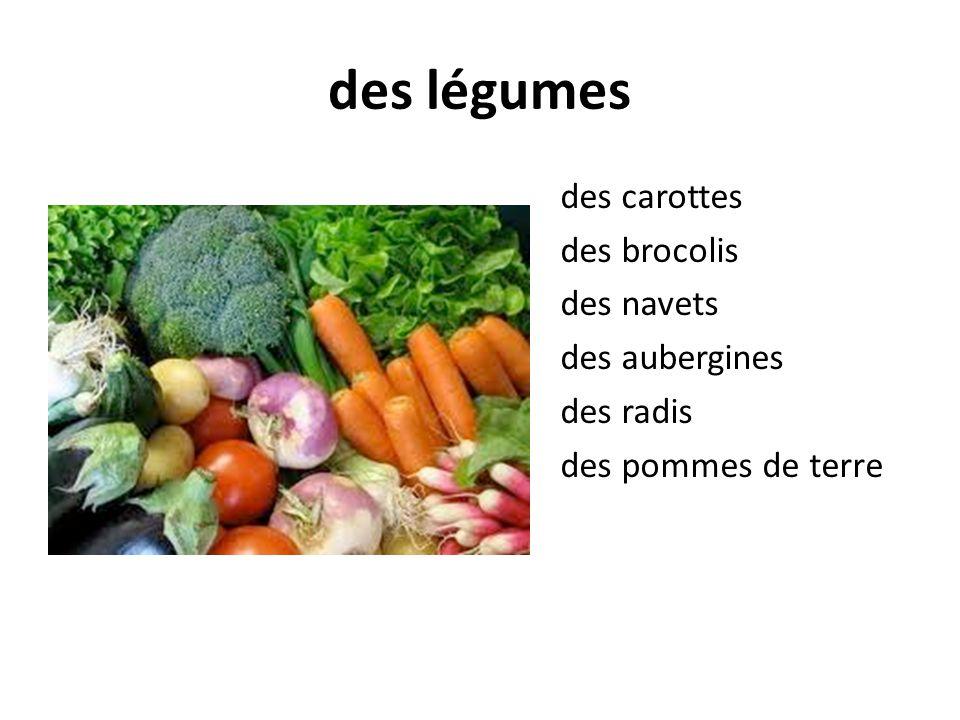 des légumes des carottes des brocolis des navets des aubergines des radis des pommes de terre