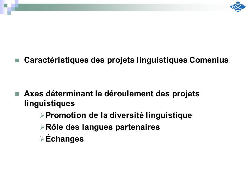 Caractéristiques des projets linguistiques Comenius Axes déterminant le déroulement des projets linguistiques Promotion de la diversité linguistique R