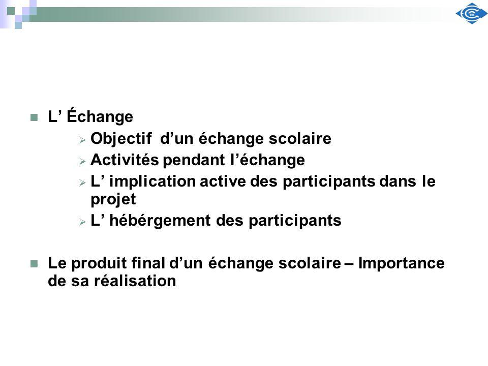 L Échange Objectif dun échange scolaire Activités pendant léchange L implication active des participants dans le projet L hébérgement des participants