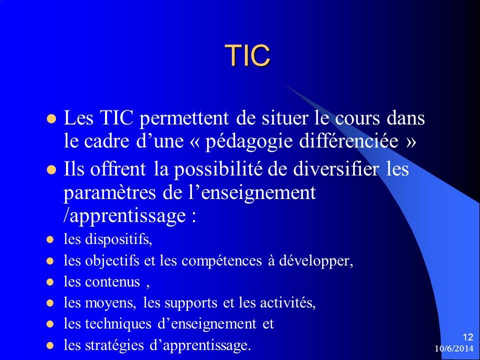 TIC Les TIC permettent de situer le cours dans le cadre dune « pédagogie différenciée » Ils offrent la possibilité de diversifier les paramètres de le