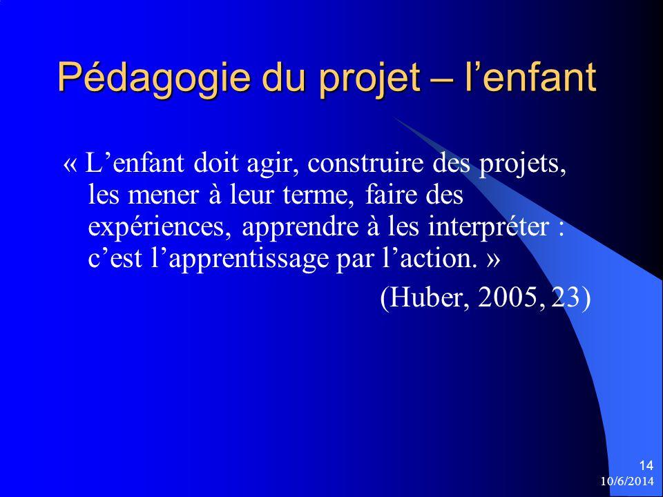 10/6/2014 14 Pédagogie du projet – lenfant « Lenfant doit agir, construire des projets, les mener à leur terme, faire des expériences, apprendre à les