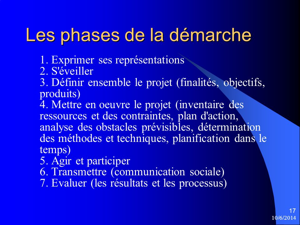 10/6/2014 17 Les phases de la démarche 1. Exprimer ses représentations 2. S'éveiller 3. Définir ensemble le projet (finalités, objectifs, produits) 4.