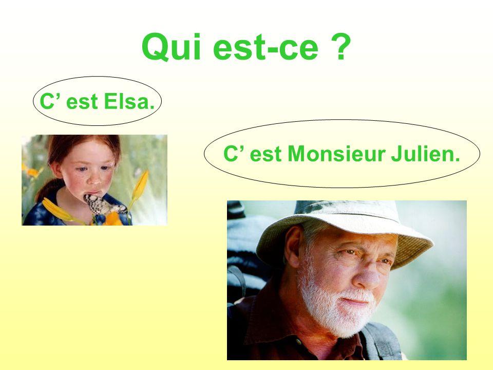 Qui est-ce ? C est Elsa. C est Monsieur Julien.
