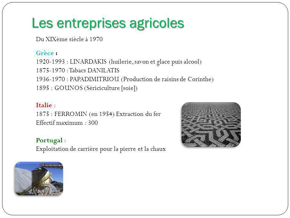 Les entreprises agricoles Du XIXème siècle à 1970 Grèce : 1920-1993 : LINARDAKIS (huilerie, savon et glace puis alcool) 1875-1970 : Tabacs DANILATIS 1936-1970 : PAPADIMITRIOU (Production de raisins de Corinthe) 1895 : GOUNOS (Sériciculture [soie]) Italie : 1875 : FERROMIN (en 1954) Extraction du fer Effectif maximum : 300 Portugal : Exploitation de carrière pour la pierre et la chaux