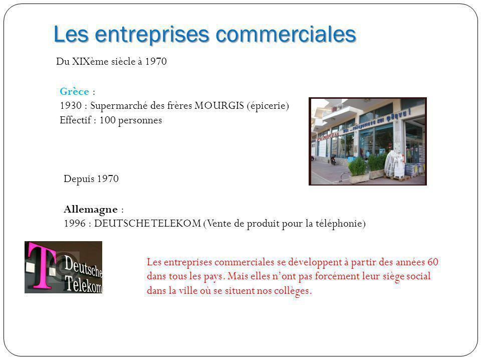 Les entreprises commerciales Du XIXème siècle à 1970 Grèce : 1930 : Supermarché des frères MOURGIS (épicerie) Effectif : 100 personnes Depuis 1970 All