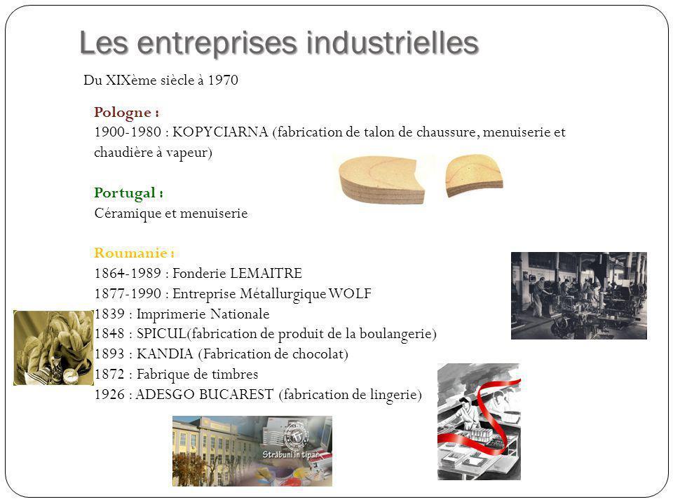 Les entreprises industrielles Pologne : 1900-1980 : KOPYCIARNA (fabrication de talon de chaussure, menuiserie et chaudière à vapeur) Portugal : Cérami