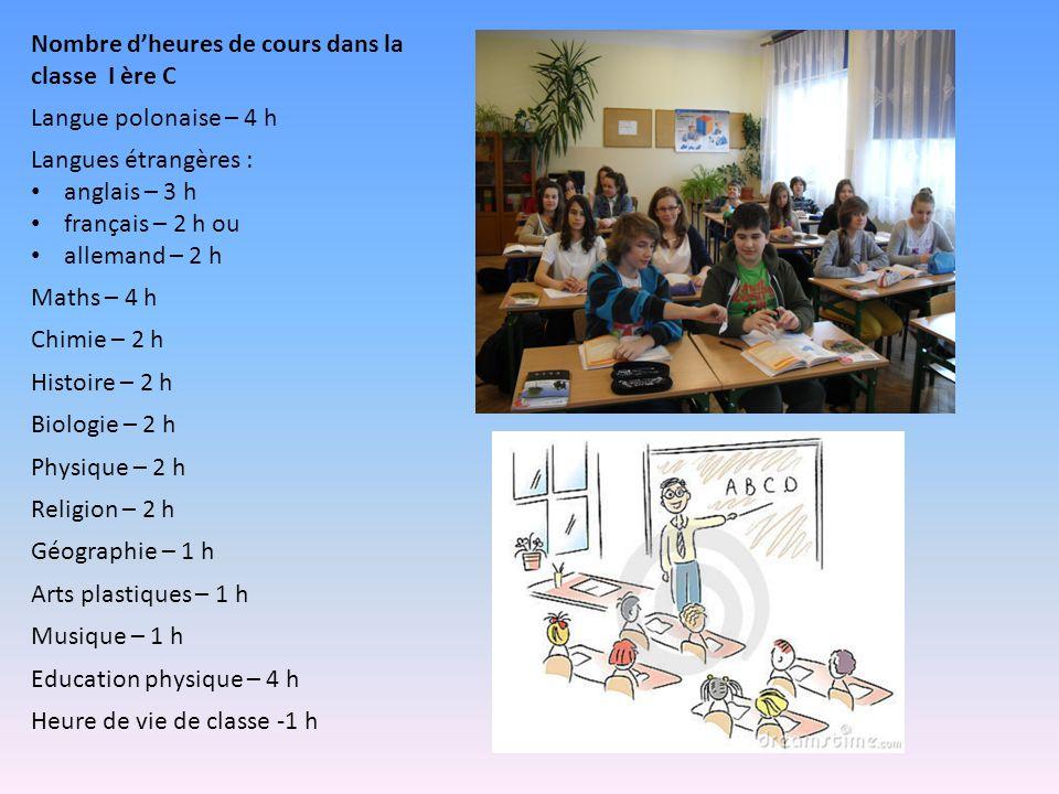 Nombre dheures de cours dans la classe I ère C Langue polonaise – 4 h Langues étrangères : anglais – 3 h français – 2 h ou allemand – 2 h Maths – 4 h