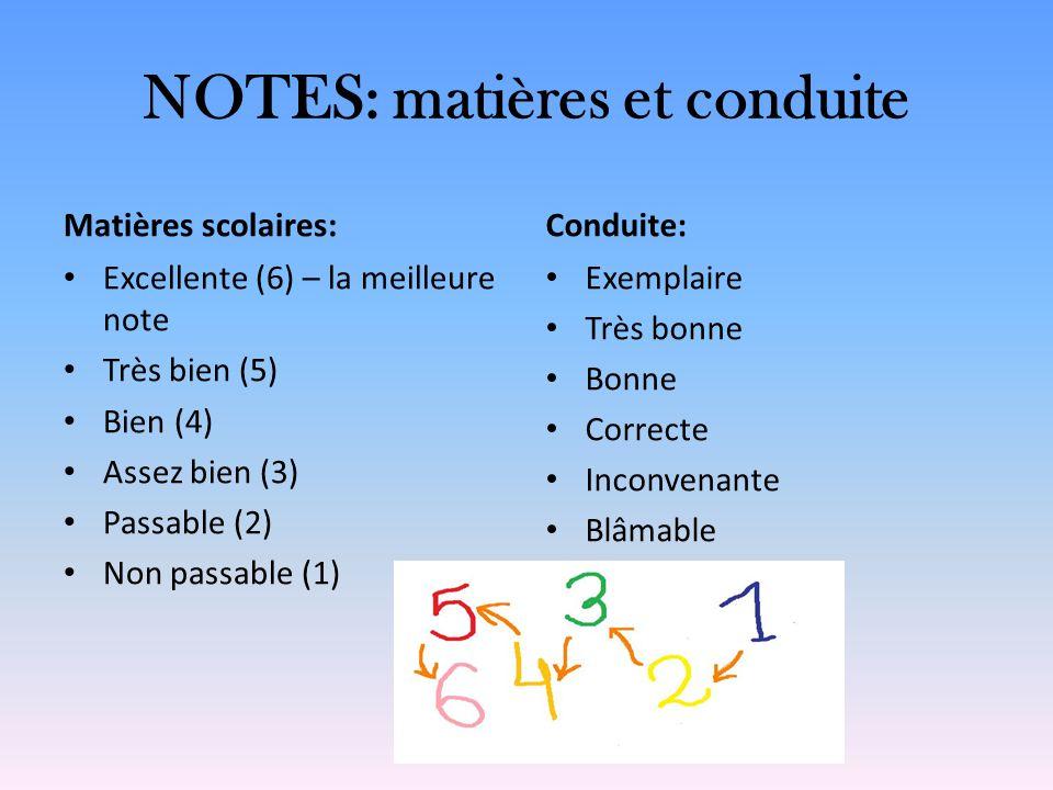 NOTES: matières et conduite Matières scolaires: Excellente (6) – la meilleure note Très bien (5) Bien (4) Assez bien (3) Passable (2) Non passable (1)
