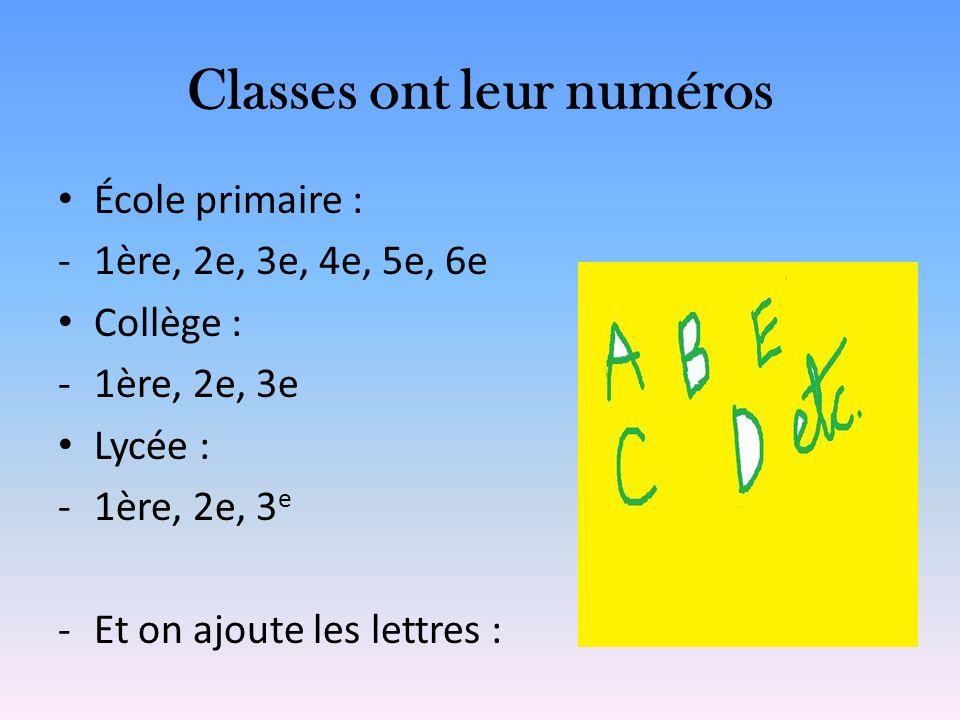 Classes ont leur numéros École primaire : -1ère, 2e, 3e, 4e, 5e, 6e Collège : -1ère, 2e, 3e Lycée : -1ère, 2e, 3 e -Et on ajoute les lettres :
