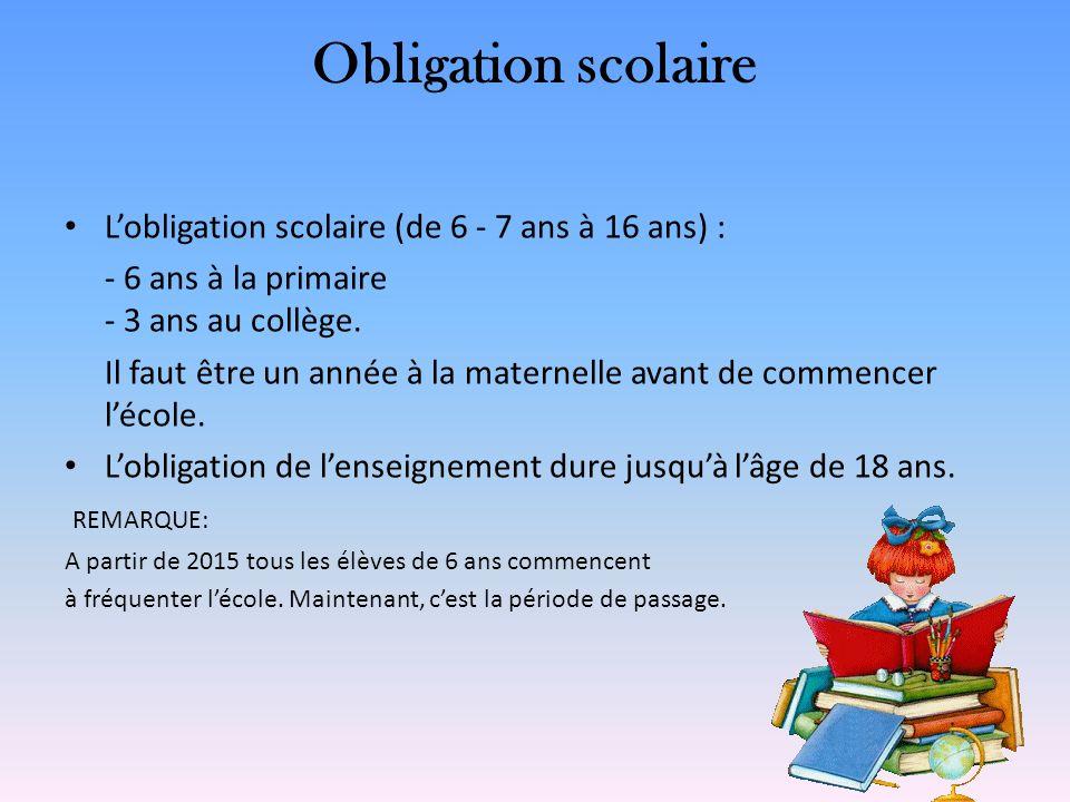 Obligation scolaire Lobligation scolaire (de 6 - 7 ans à 16 ans) : - 6 ans à la primaire - 3 ans au collège. Il faut être un année à la maternelle ava