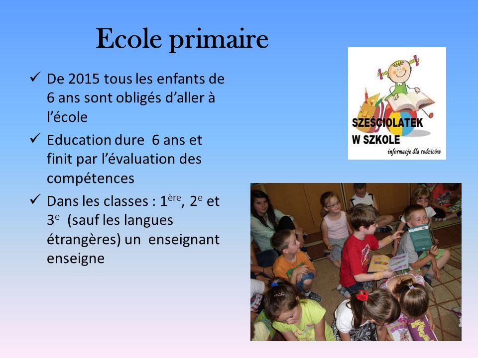Ecole primaire De 2015 tous les enfants de 6 ans sont obligés daller à lécole Education dure 6 ans et finit par lévaluation des compétences Dans les c