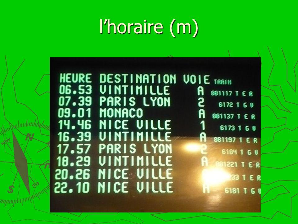 lhoraire (m)