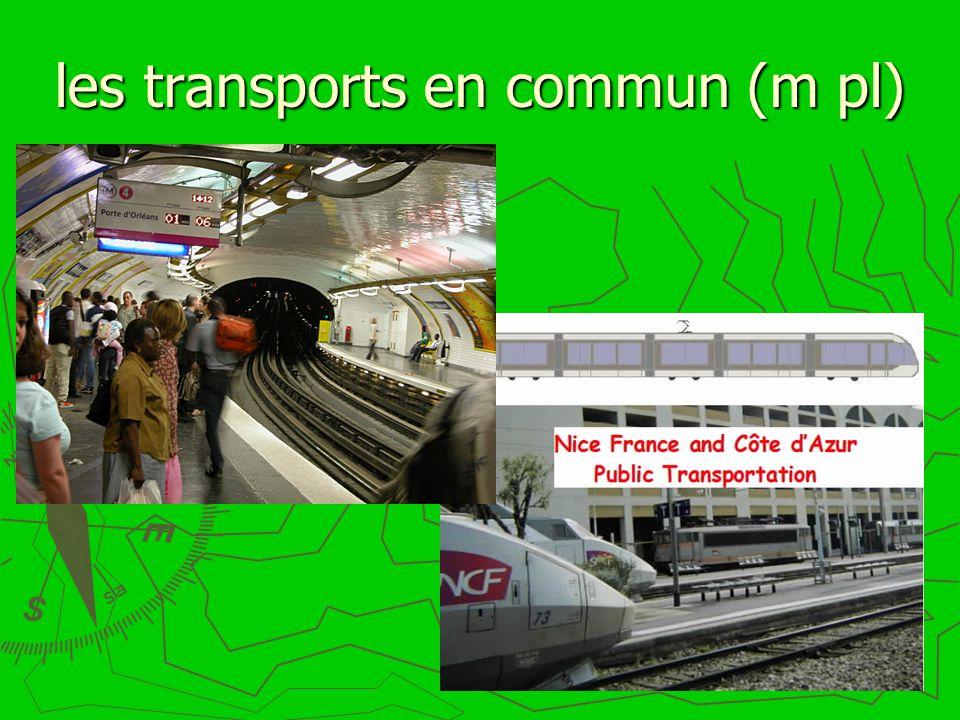 les transports en commun (m pl)