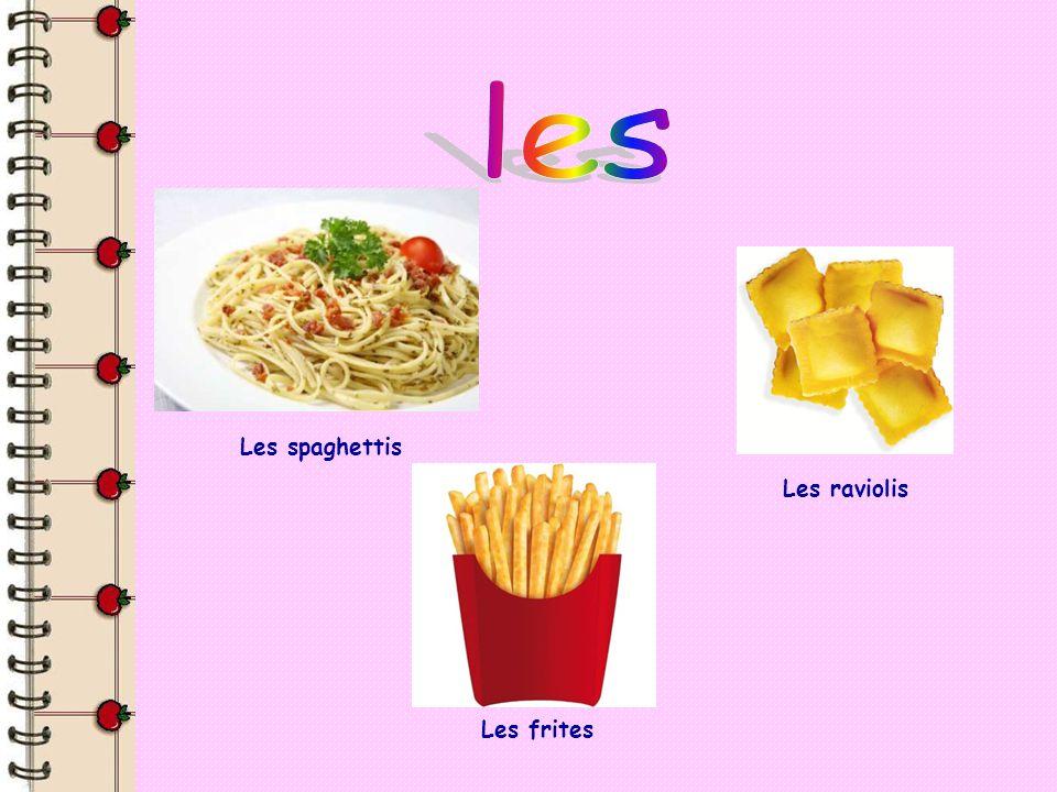 Les spaghettis Les raviolis Les frites