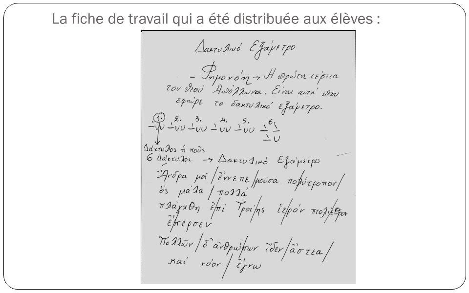 La fiche de travail qui a été distribuée aux élèves :