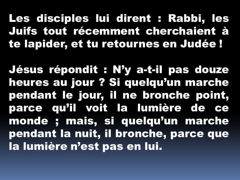 Les disciples lui dirent : Rabbi, les Juifs tout récemment cherchaient à te lapider, et tu retournes en Judée ! Jésus répondit : Ny a-t-il pas douze h