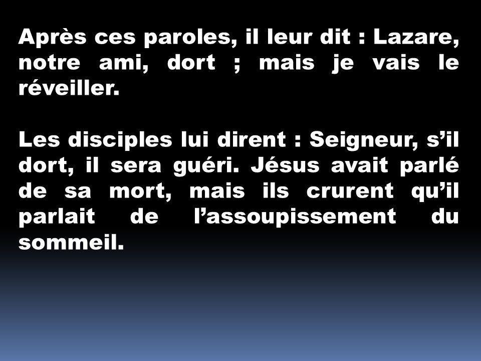 Après ces paroles, il leur dit : Lazare, notre ami, dort ; mais je vais le réveiller. Les disciples lui dirent : Seigneur, sil dort, il sera guéri. Jé