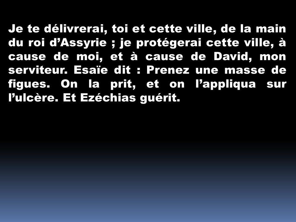 Je te délivrerai, toi et cette ville, de la main du roi dAssyrie ; je protégerai cette ville, à cause de moi, et à cause de David, mon serviteur. Esaï
