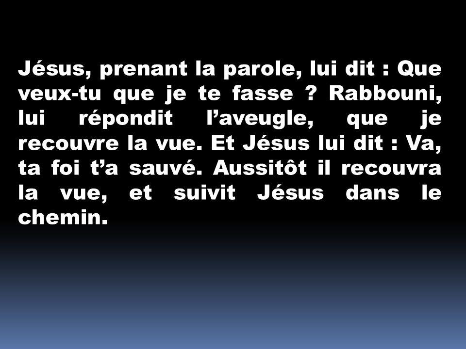 Jésus, prenant la parole, lui dit : Que veux-tu que je te fasse ? Rabbouni, lui répondit laveugle, que je recouvre la vue. Et Jésus lui dit : Va, ta f