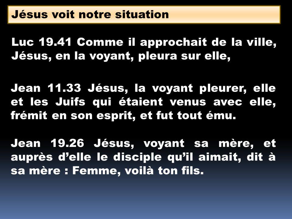 Luc 19.41 Comme il approchait de la ville, Jésus, en la voyant, pleura sur elle, Jésus voit notre situation Jean 11.33 Jésus, la voyant pleurer, elle