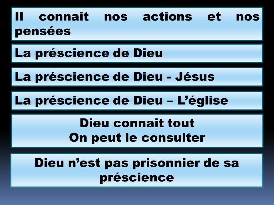 Il connait nos actions et nos pensées La préscience de Dieu La préscience de Dieu - Jésus La préscience de Dieu – Léglise Dieu connait tout On peut le