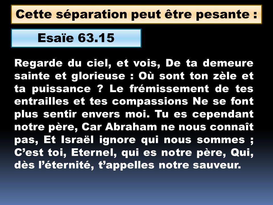 Esaïe 63.15 Regarde du ciel, et vois, De ta demeure sainte et glorieuse : Où sont ton zèle et ta puissance .