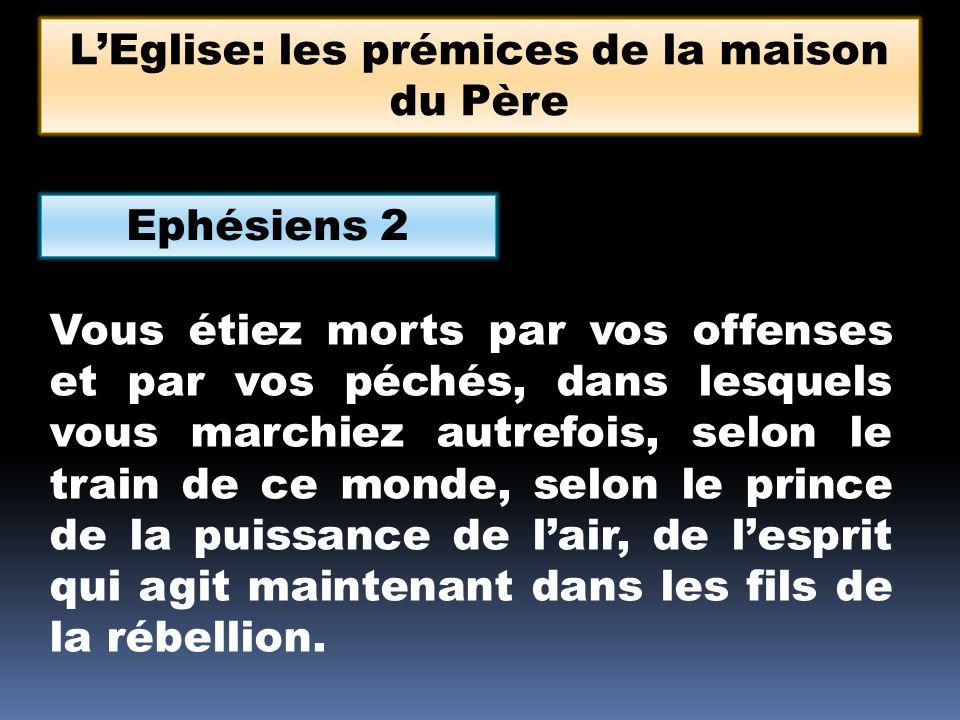 Ephésiens 2 Vous étiez morts par vos offenses et par vos péchés, dans lesquels vous marchiez autrefois, selon le train de ce monde, selon le prince de la puissance de lair, de lesprit qui agit maintenant dans les fils de la rébellion.