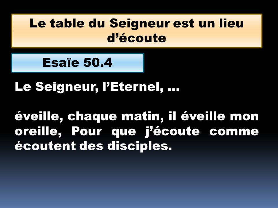 Esaïe 50.4 Le Seigneur, lEternel, … éveille, chaque matin, il éveille mon oreille, Pour que jécoute comme écoutent des disciples.
