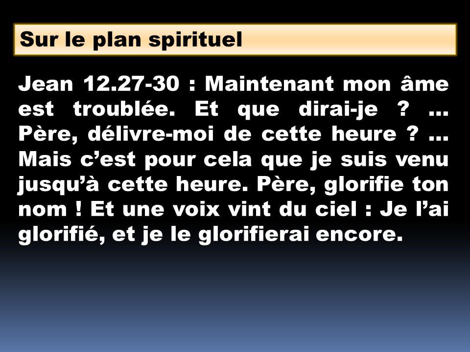 Sur le plan spirituel Jean 12.27-30 : Maintenant mon âme est troublée.