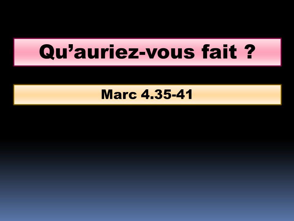 Quauriez-vous fait ? Marc 4.35-41