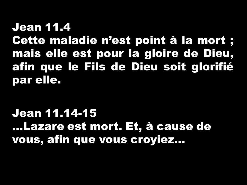 Jean 11.4 Cette maladie nest point à la mort ; mais elle est pour la gloire de Dieu, afin que le Fils de Dieu soit glorifié par elle. Jean 11.14-15 …L