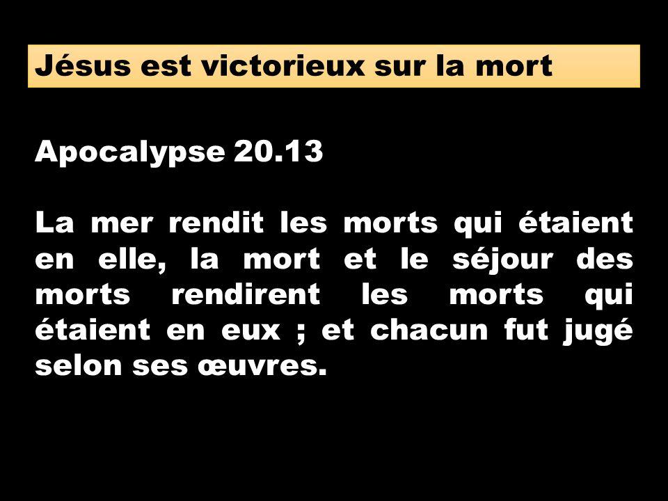 Apocalypse 20.13 La mer rendit les morts qui étaient en elle, la mort et le séjour des morts rendirent les morts qui étaient en eux ; et chacun fut ju