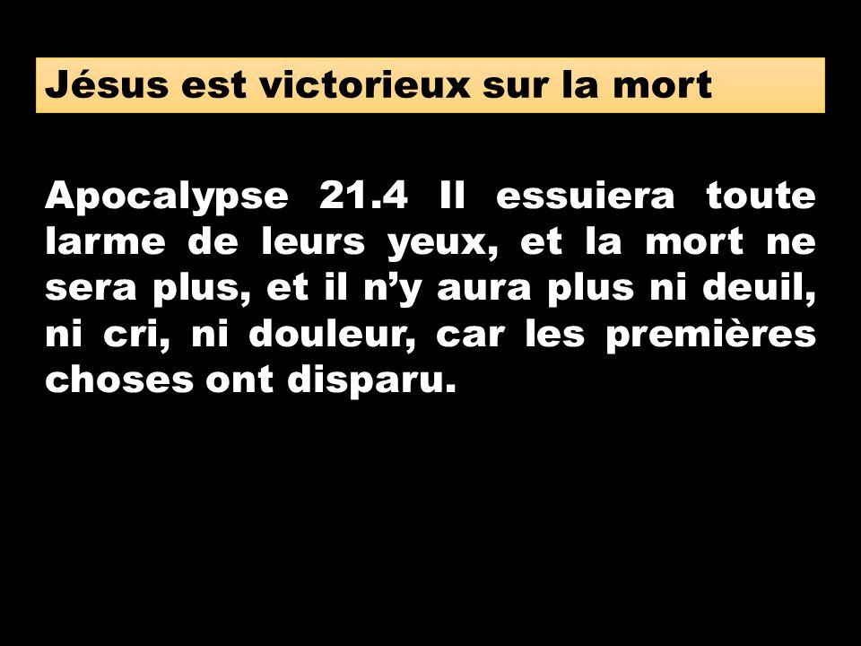 Apocalypse 21.4 Il essuiera toute larme de leurs yeux, et la mort ne sera plus, et il ny aura plus ni deuil, ni cri, ni douleur, car les premières cho