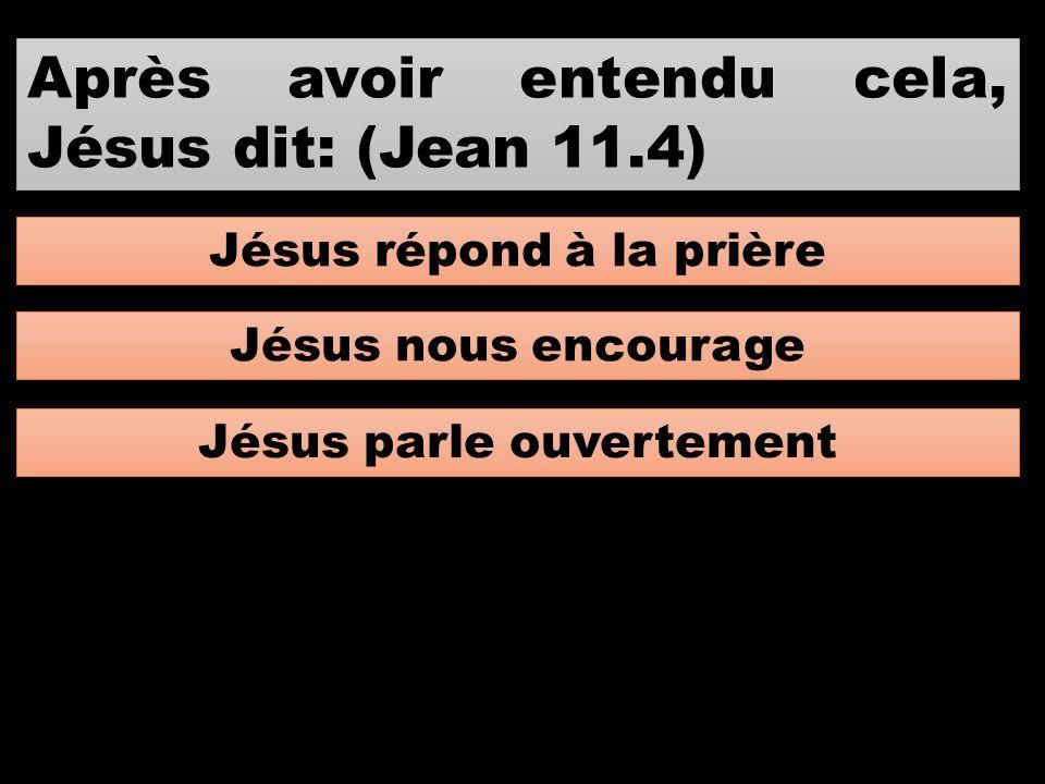 Après avoir entendu cela, Jésus dit: (Jean 11.4) Jésus répond à la prière Jésus nous encourage Jésus parle ouvertement