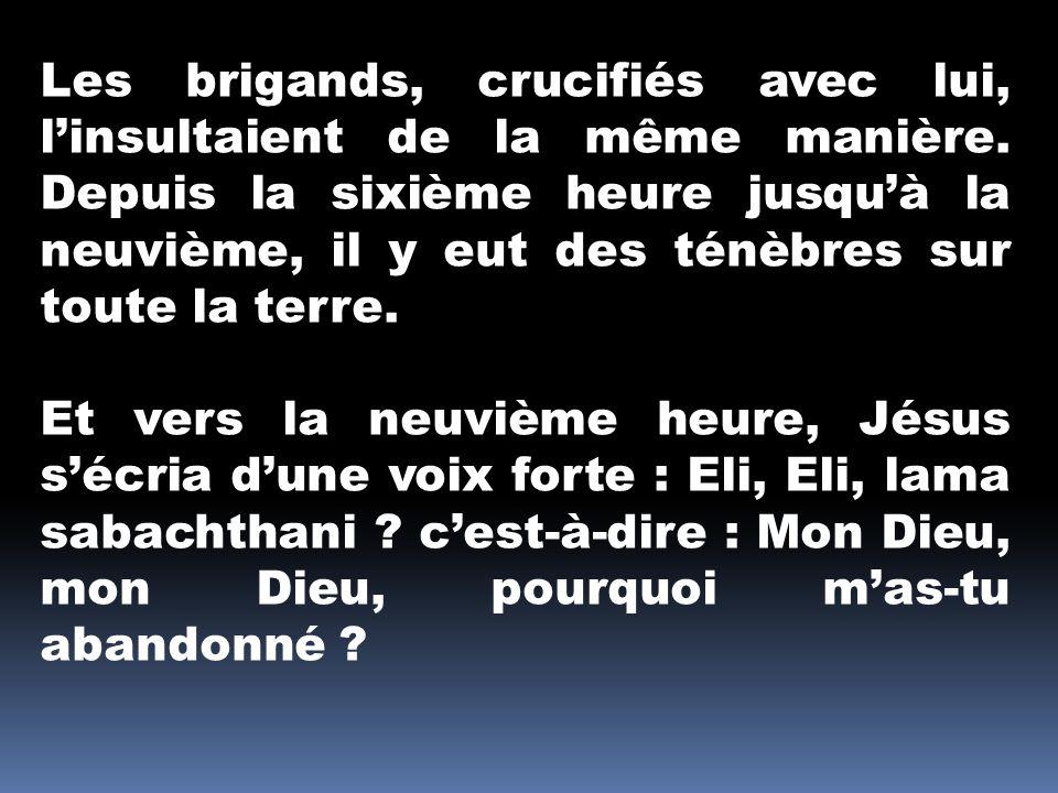 Les brigands, crucifiés avec lui, linsultaient de la même manière.