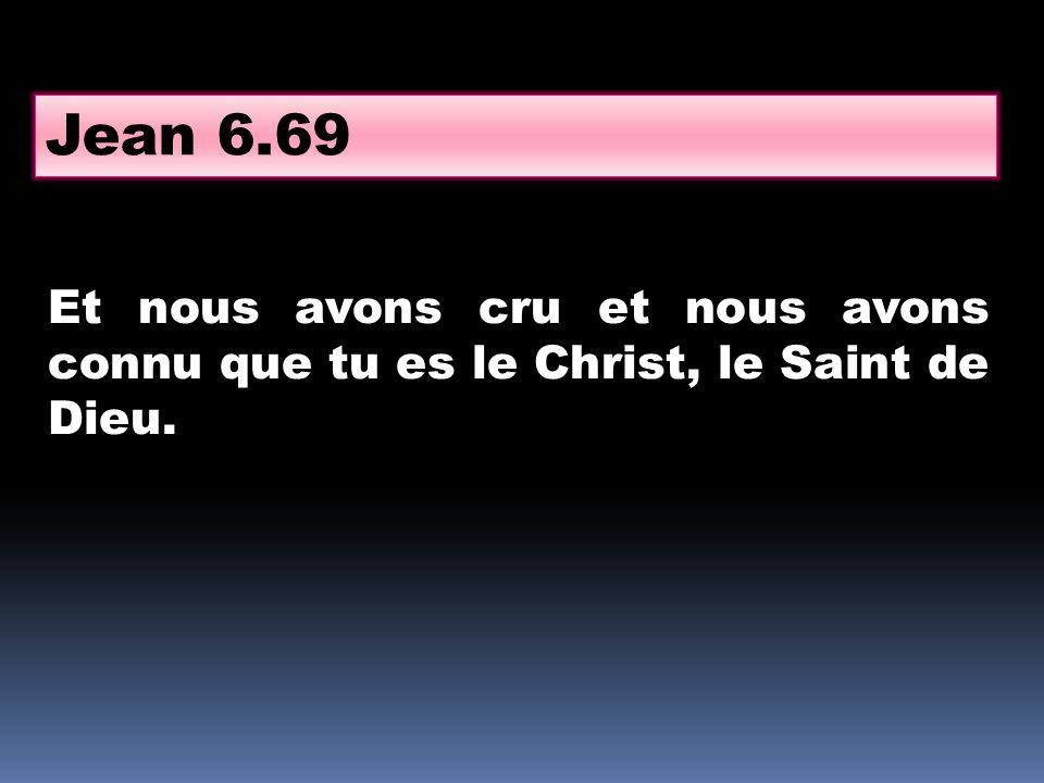Et nous avons cru et nous avons connu que tu es le Christ, le Saint de Dieu. Jean 6.69