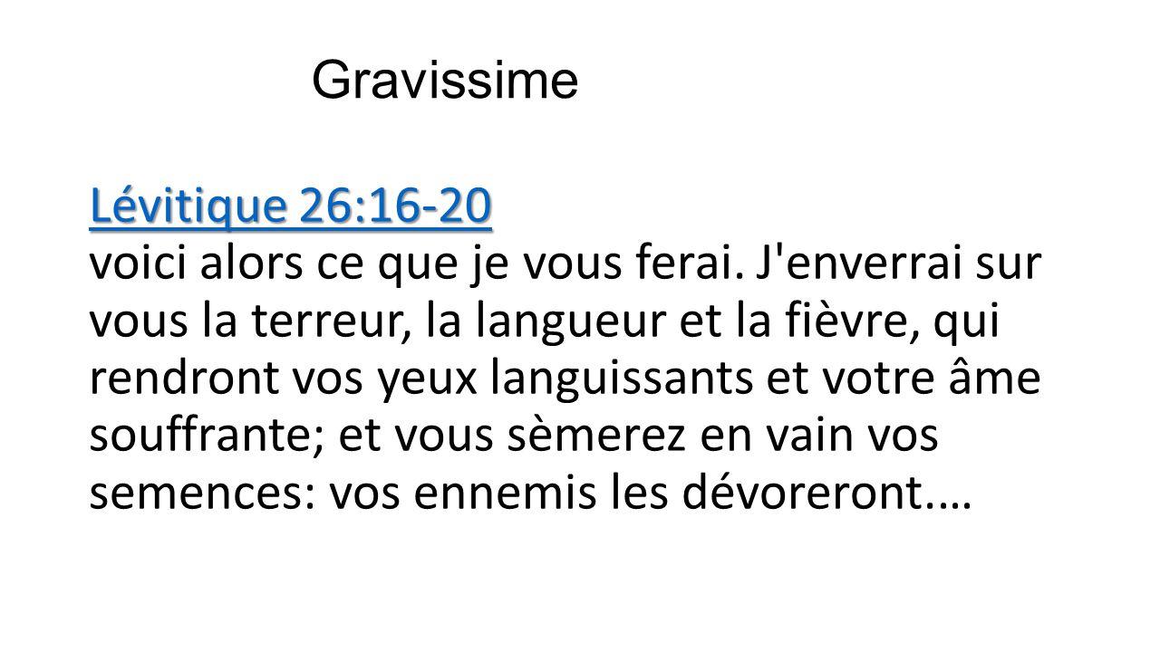 Gravissime Lévitique 26:16-20 Lévitique 26:16-20 Lévitique 26:16-20 Lévitique 26:16-20 voici alors ce que je vous ferai. J'enverrai sur vous la terreu
