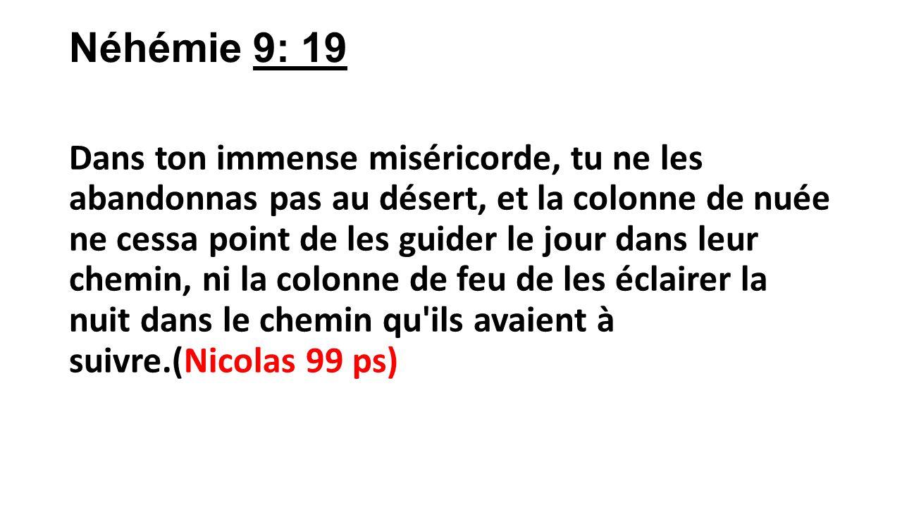 Néhémie 9: 19 Dans ton immense miséricorde, tu ne les abandonnas pas au désert, et la colonne de nuée ne cessa point de les guider le jour dans leur c