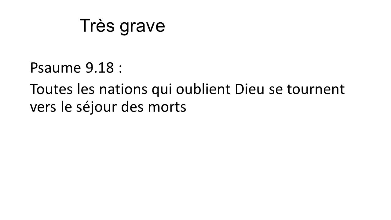 Très grave Psaume 9.18 : Toutes les nations qui oublient Dieu se tournent vers le séjour des morts