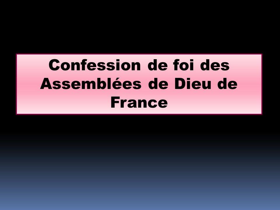 Confession de foi des Assemblées de Dieu de France