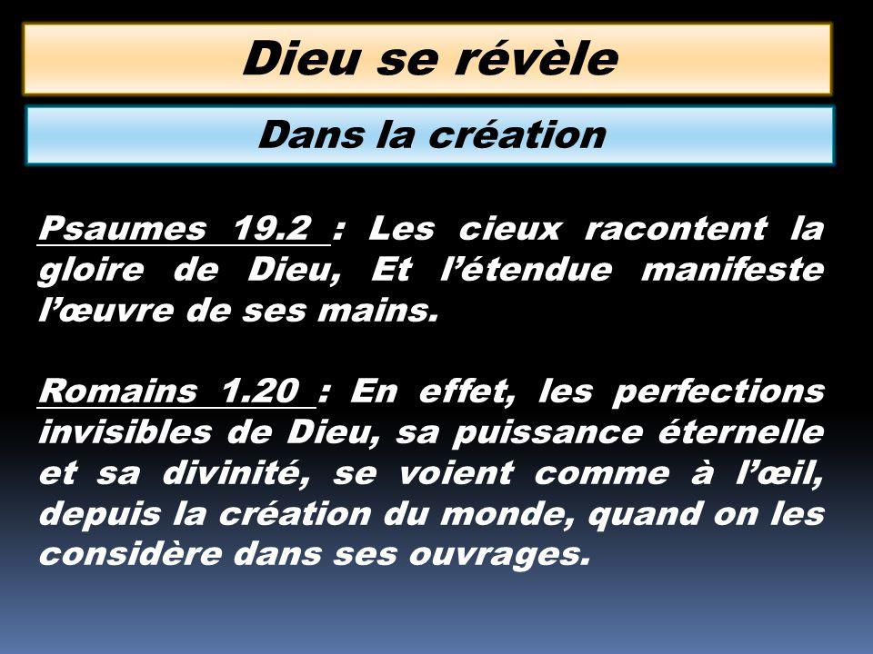 Psaumes 19.2 : Les cieux racontent la gloire de Dieu, Et létendue manifeste lœuvre de ses mains. Romains 1.20 : En effet, les perfections invisibles d