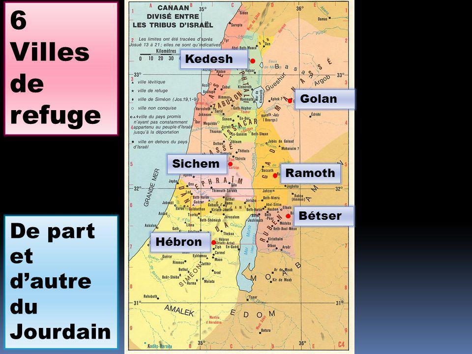 Sichem Golan Kedesh Hébron Ramoth Bétser 6 Villes de refuge De part et dautre du Jourdain