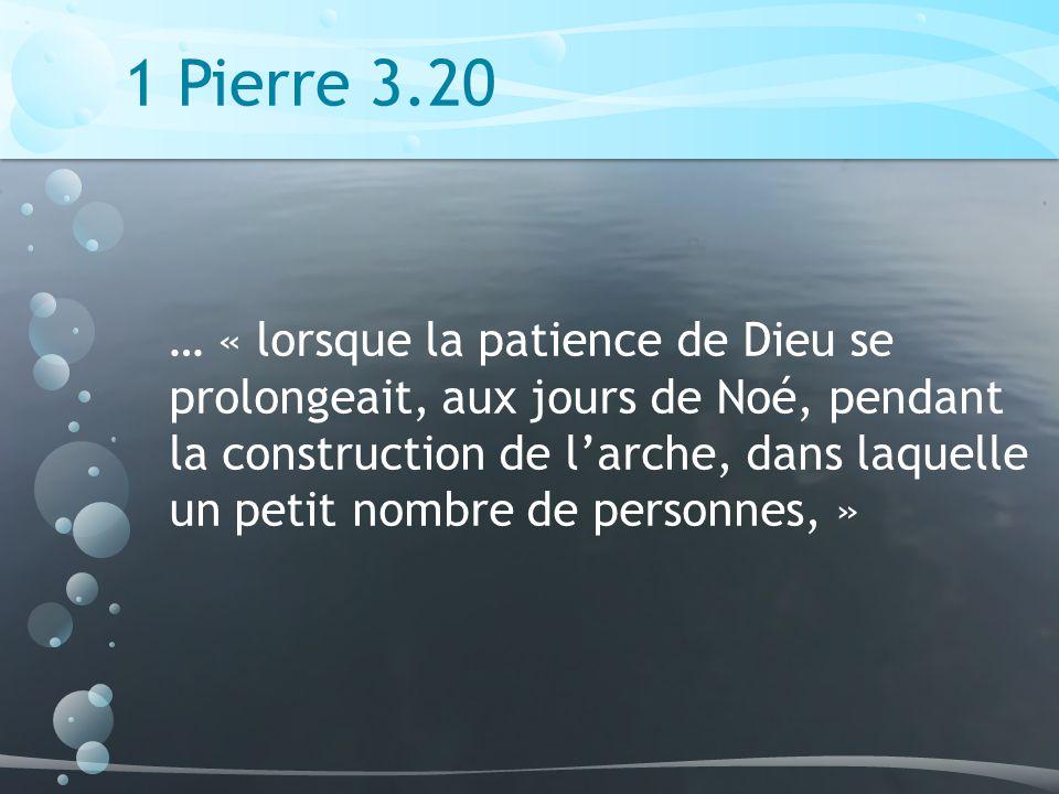 1 Pierre 3.20 … « lorsque la patience de Dieu se prolongeait, aux jours de Noé, pendant la construction de larche, dans laquelle un petit nombre de personnes, »