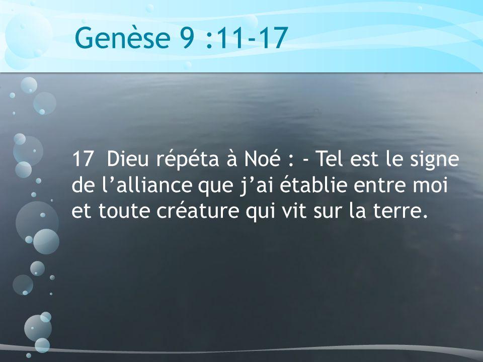 Genèse 9 :11-17 17 Dieu répéta à Noé : - Tel est le signe de lalliance que jai établie entre moi et toute créature qui vit sur la terre.