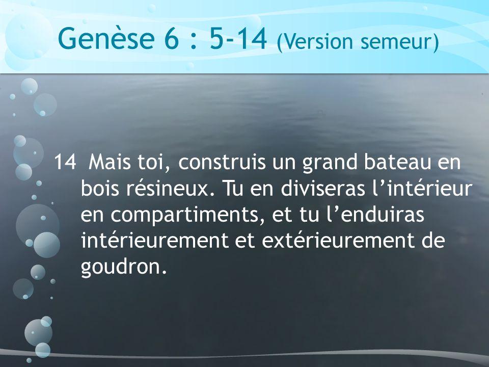 Genèse 7 : 11-17 (Version semeur) 16 Toutes ces créatures étaient arrivées par deux, mâle et femelle, comme Dieu lavait ordonné.
