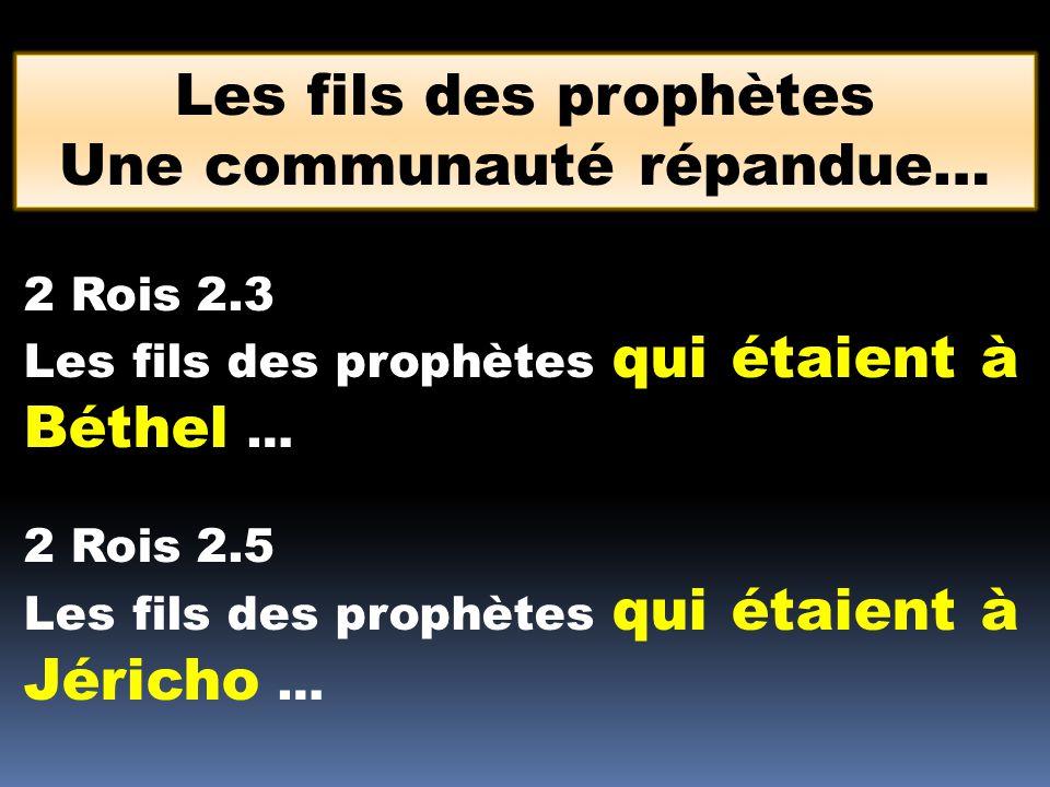2 Rois 2.3 Les fils des prophètes qui étaient à Béthel … 2 Rois 2.5 Les fils des prophètes qui étaient à Jéricho … Les fils des prophètes Une communau