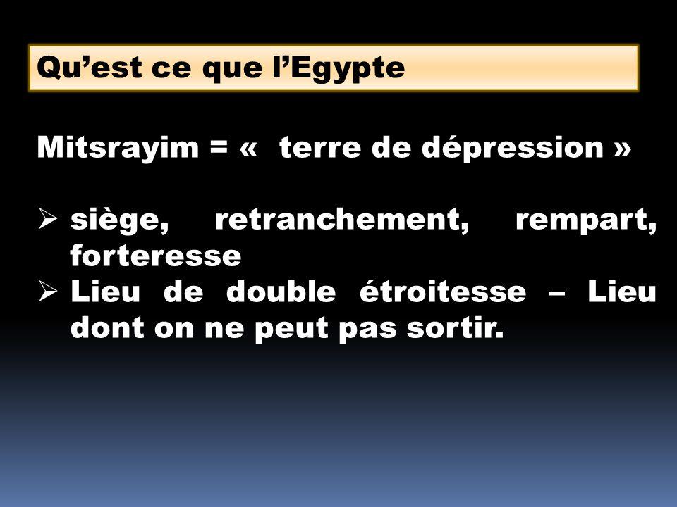 Quest ce que lEgypte Mitsrayim = « terre de dépression » siège, retranchement, rempart, forteresse Lieu de double étroitesse – Lieu dont on ne peut pa