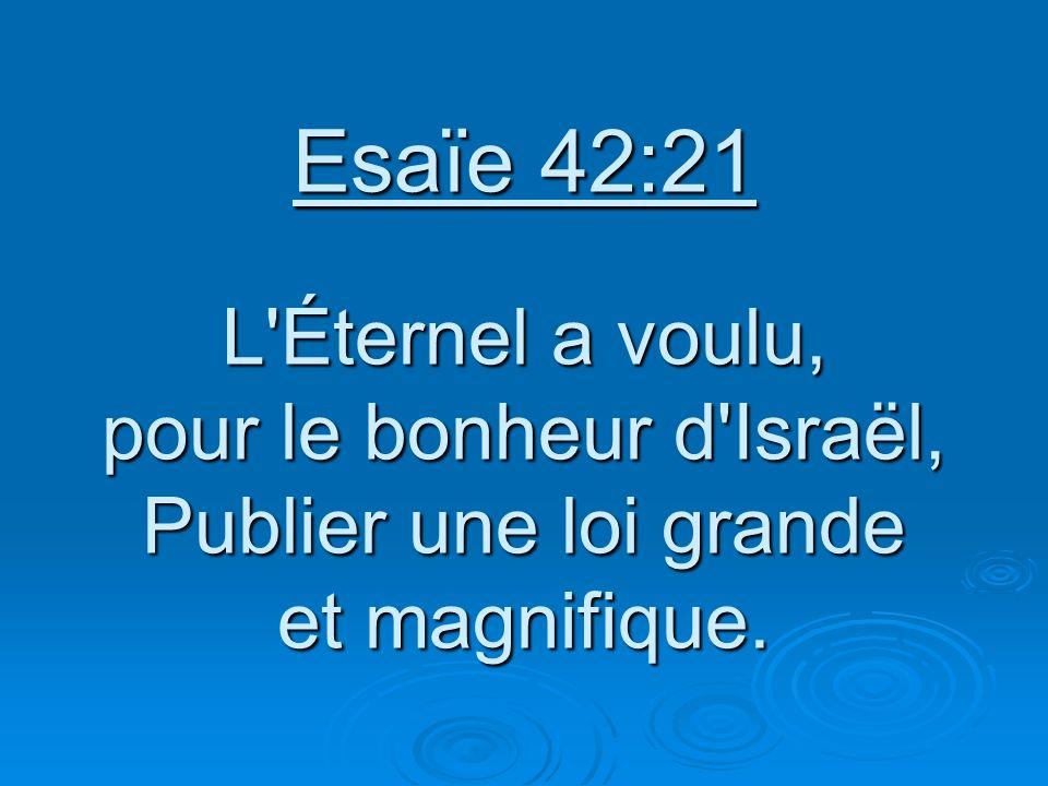 Esaïe 42:21 L'Éternel a voulu, pour le bonheur d'Israël, Publier une loi grande et magnifique.