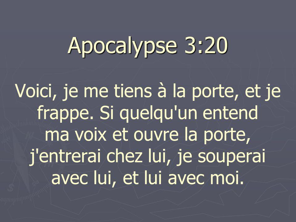 Apocalypse 3:20 Apocalypse 3:20 Voici, je me tiens à la porte, et je frappe.