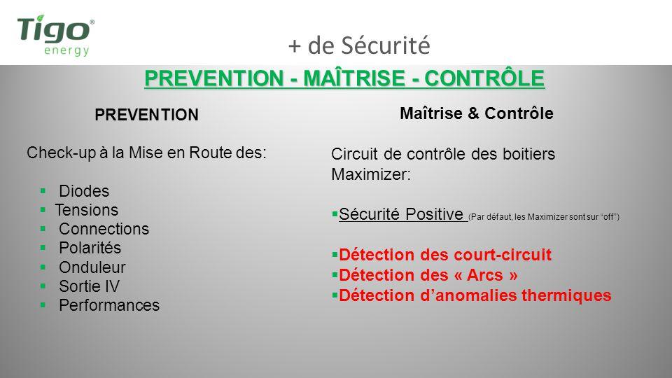 + de Sécurité PREVENTION - MAÎTRISE - CONTRÔLE PREVENTION Check-up à la Mise en Route des: Diodes Tensions Connections Polarités Onduleur Sortie IV Pe